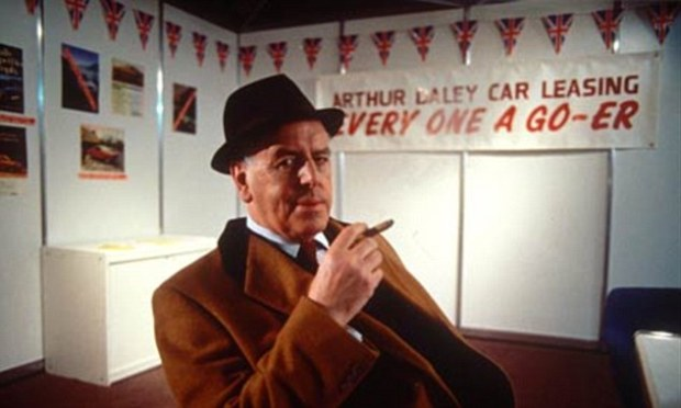 George Cole pictured as Arthur Daley, the quintessential 'dodgy car-dealer' from TV's Minder