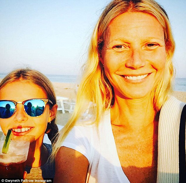 "Sage advice: He told them: 'She said, ""How are you feeling about the Super Bowl?"" I said, ""Of course we're a little bit nervous.""' - Apple is seen here with her mother Gwyneth Paltrow"