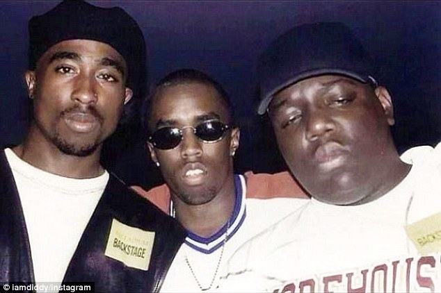 An ex-cop claims that rapper P Diddy (center) was behind the murder of Tupac Shakur (left). Diddy's friend and fellow East-coaster Biggie Smalls (right) was then allegedly killed in revenge