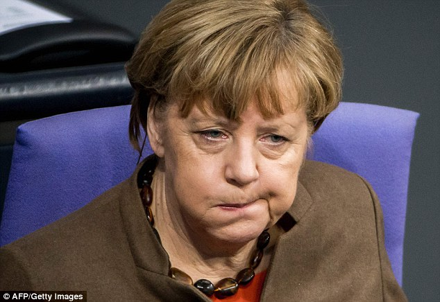 Feeling the strain: Angela Merkel's popularity ratings have plunged to five-year low, with a massive 81 per cent of Germans saying she has not handled the migrant crisis engulfing the country well