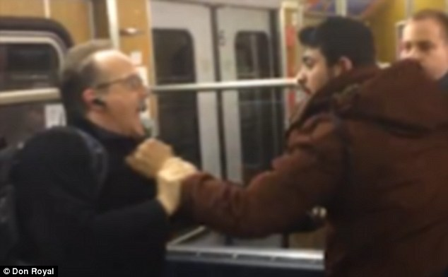 Disgrace: Mrs Merkel has seen her political capital squandered in the past few weeks as a series of ugly incidents involving migrants have served to unite people against her, including this video showing three Afghan migrants attacking two pensioners on a Munich subway train