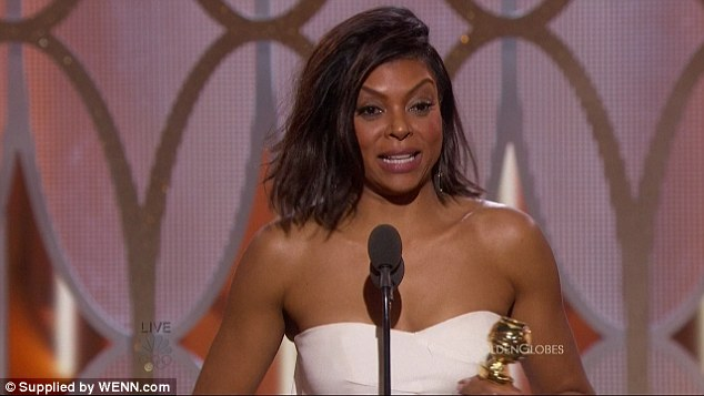 Pure happiness: Taraji accepted the Best Actress Award at the Golden Globes last month for her portrayal of Cookie on the Fox hit; pictured January 10 at the show
