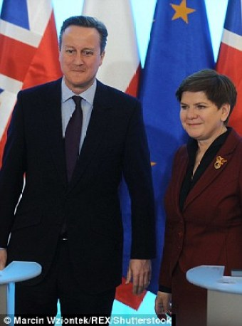 Cameron, pictured alongside Polish prime minister Beata Szydlo, said this morning that the changes he has agreed to Britain's membership of the EU will be 'good for Britain, good for Europe and also good for Poland'