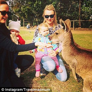 When in Brisbane, Australia, the family got to hang out with the kangaroos