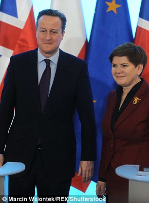 Cameron's plans for an emrgency brake have come under fire from Tory Eurosceptics. But he won backing from Polish prime ministerBeata Szydlo, pictured with the PM in Warsaw this morning