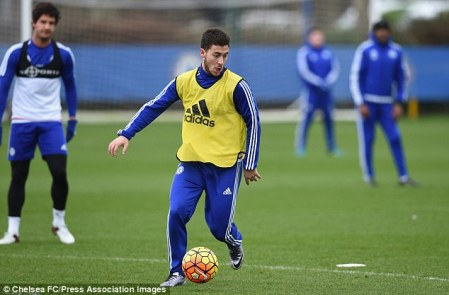 Eden Hazard, pictured at training on Friday, sent Jose Mourinho a text to apologise after he was sacked