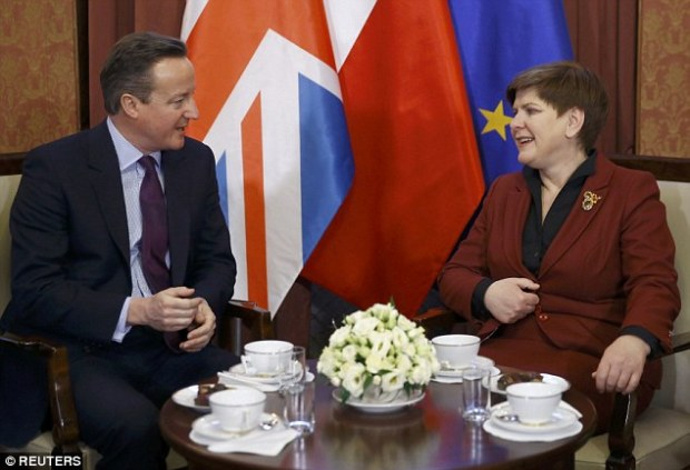 David Cameron returned from his continental tour proudly waving a piece of paper purporting to represent a new deal for Britain in Europe. Above, he meets Polish Prime Minister Beata Szydlo