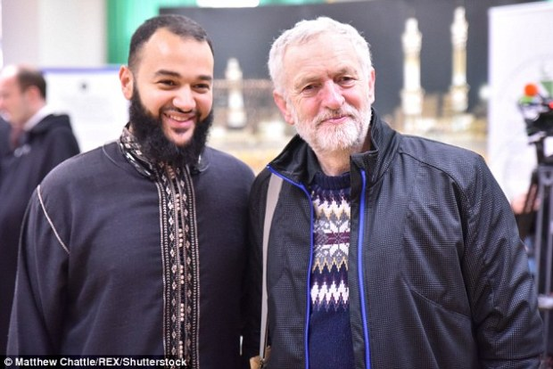 Labour would be 'hurtling towards catastrophe' if an election was called this year, according to Perkins, a leading critique among Labour moderates of Corbyn, pictured above visiting Finsbury Mosque today
