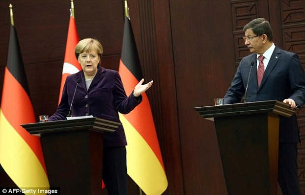 German chancellor Angela Merkel speaks during a joint press conference in Ankara today. She met with Turkish leaders to develop initiatives that will stem the refugee flow into Europe and in particular, Germany