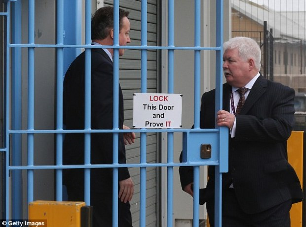 The claims made by Cameron, pictured visiting a prison in Rugby today, were rubbished by senior Tory figures, including the ex-Cabinet minister Liam Fox, who said he was 'disappointed' by the PM's comments
