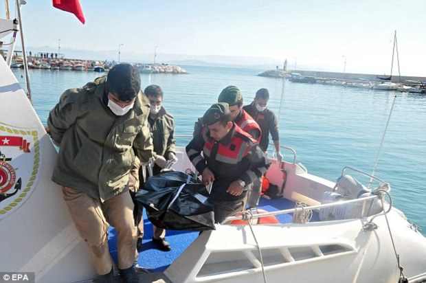 Turkish soldiers pull the body of a drowned refugee to shore at Balikesir, Turkey