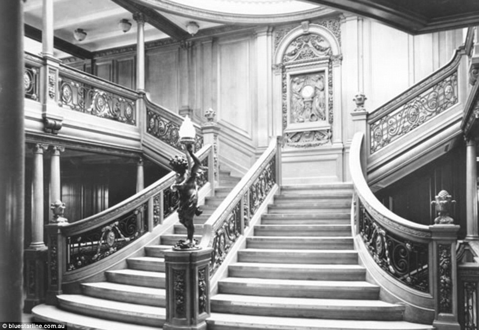 The grand staircase on White Star Line ships, including the Titanic and Olympic, was reserved for first class passengers only