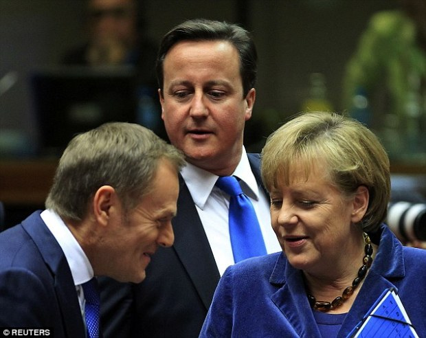 Donald Tusk, pictured left with David Cameron and Angela Merkel, said he had held urgent meetings with the EU's most powerful leaders - including the German Chancellor and French President Francois Hollande