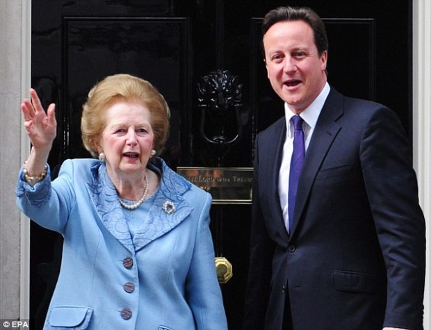 Lady Thatcher's (left) private secretary during much of her time in Downing Street, that she would have backed David Cameron's (right) renegotiation and voted to stay in