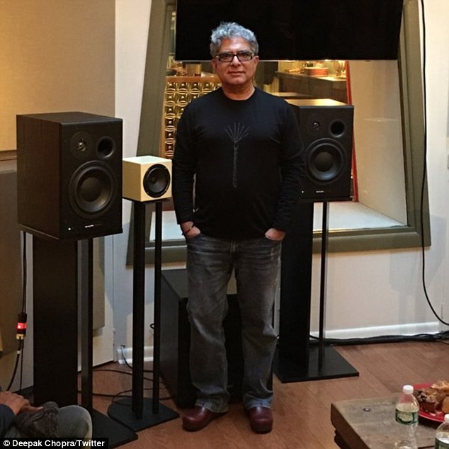 Famous voices: Deepak (pictured recording the mediations) will narrate the series with Oprah