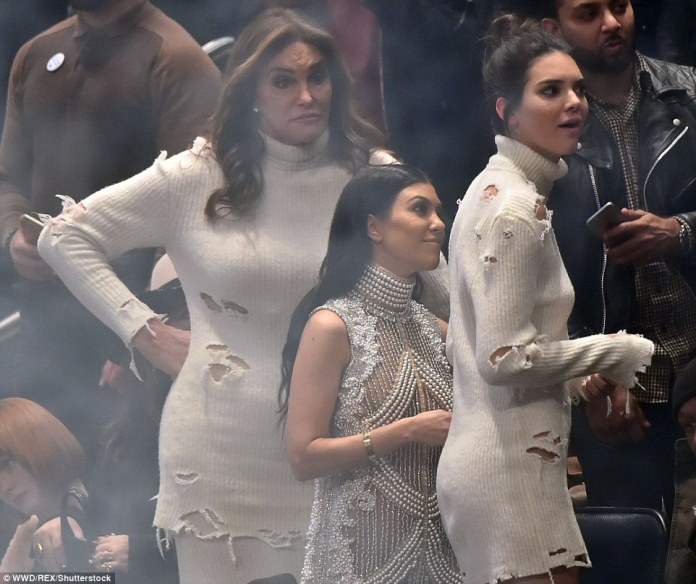 The family that dresses together... Caitlyn Jenner and daughter Kendall donned matching ensembles for the show, with both women opting for a distressed cream sweater dress
