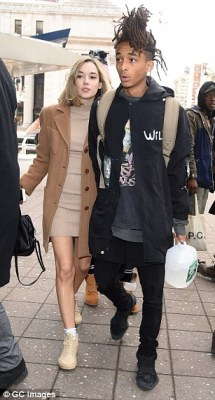 All the famous faces: Jaden Smith attended the show hand-in-hand with his girlfriend