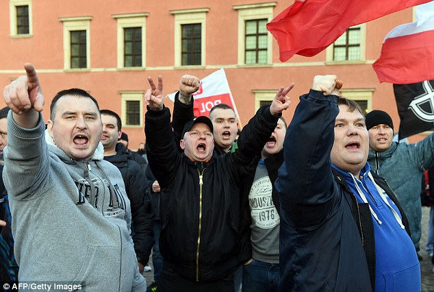 Thugs: Men demonstrate in Warsaw as rallies supporting Pegida were held across cities throughout Europe