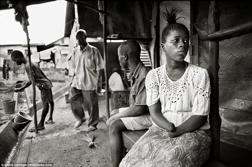 """Mariatu, Sierra Leone, 2001: 'Sometimes I can't sleep at all for several days. I think about what happened to me and I cry. I was 13. I didn't know anything about the war. I was coming from the farm trying to go to our house when we were attacked. I begged them for a long time not to cut my hands, I said """"kill me, rather than cut my hands."""" I came to live in a camp with other amputees. There are 260 amputees here. There are children of two years, three years, five years, six years. There are young people and old people.'"""