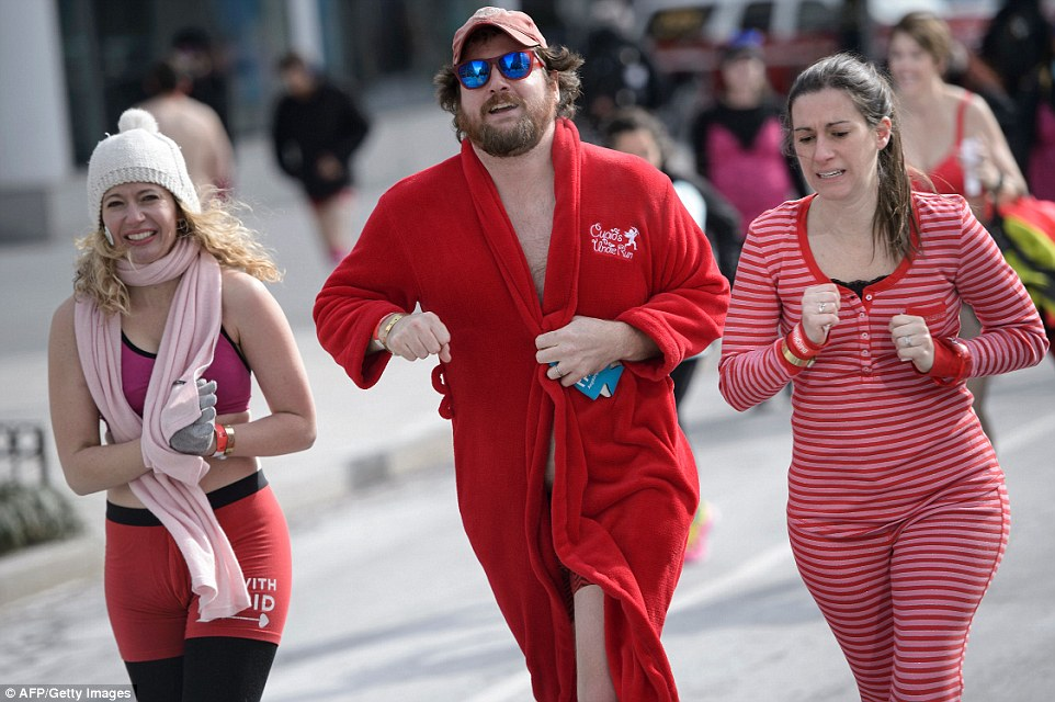 Some people decided to bundle up a little during the run, in which people don their Valentine's-themed underwear and raise funds for the Children's Tumor Foundation.