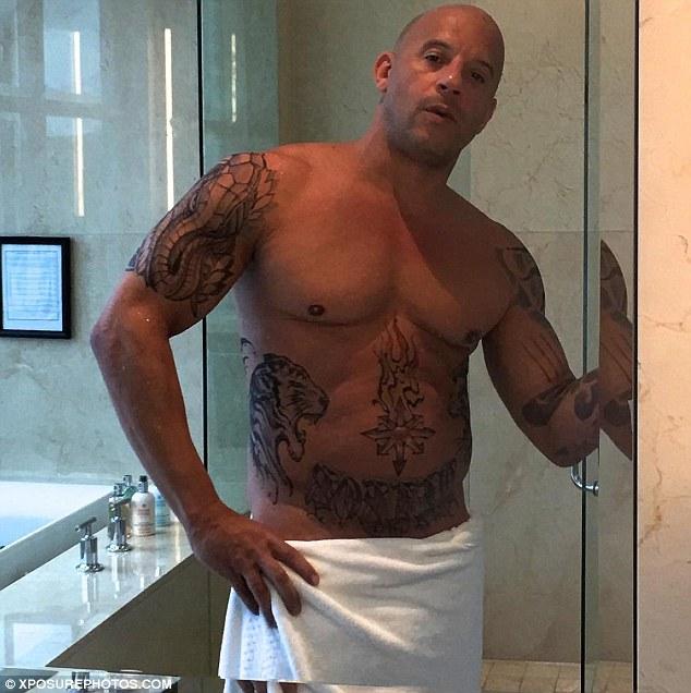 Vin Diesel Poses Shirtless As He Takes An Instagram Selfie