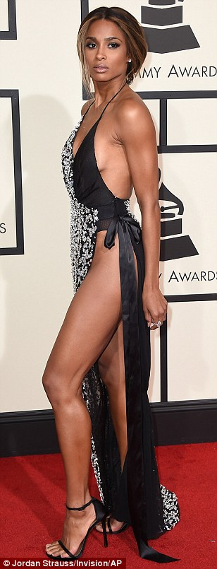 Flashing her Goodies: Ciara risked a wardrobe malfunction as she appeared to go without underwear in a very daring dress