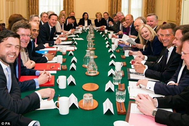 Mr Cameron's cabinet, pictured meeting for the first time after last year's election, is expected to meet on Friday to formally mark the deal with the EU and then suspend their collective responsibility to back the PM