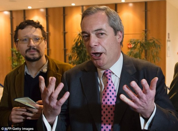 Ukip leader Nigel Farage, pictured today in Brussels, has insisted he had been due to meet Mr Cameron at the European Parliament but that he was dropped from the schedule