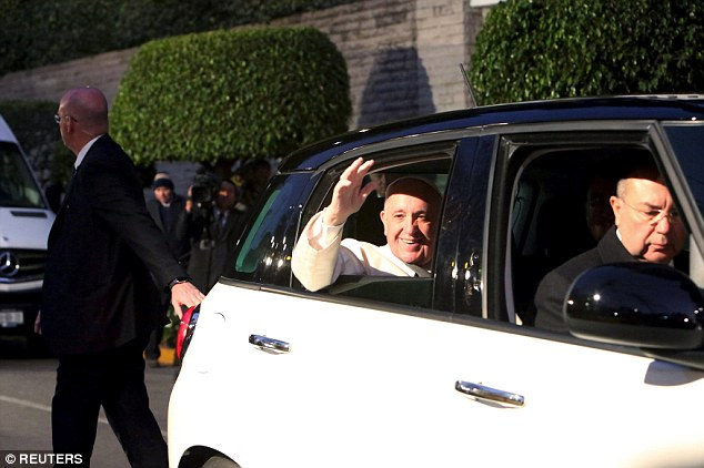 As has become customary for Pope Francis was traveling in a small Fiat 500 instead of a limousine