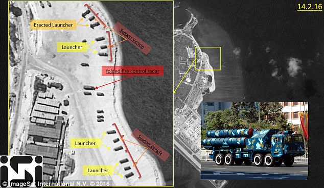 These satellite images released by ImageSat International claim to show that China has deployed surface-to-air missiles on a disputed island in the South China Sea. The missiles appeared to be the HQ-9 air defence system, with a range of about 200km (125 miles)