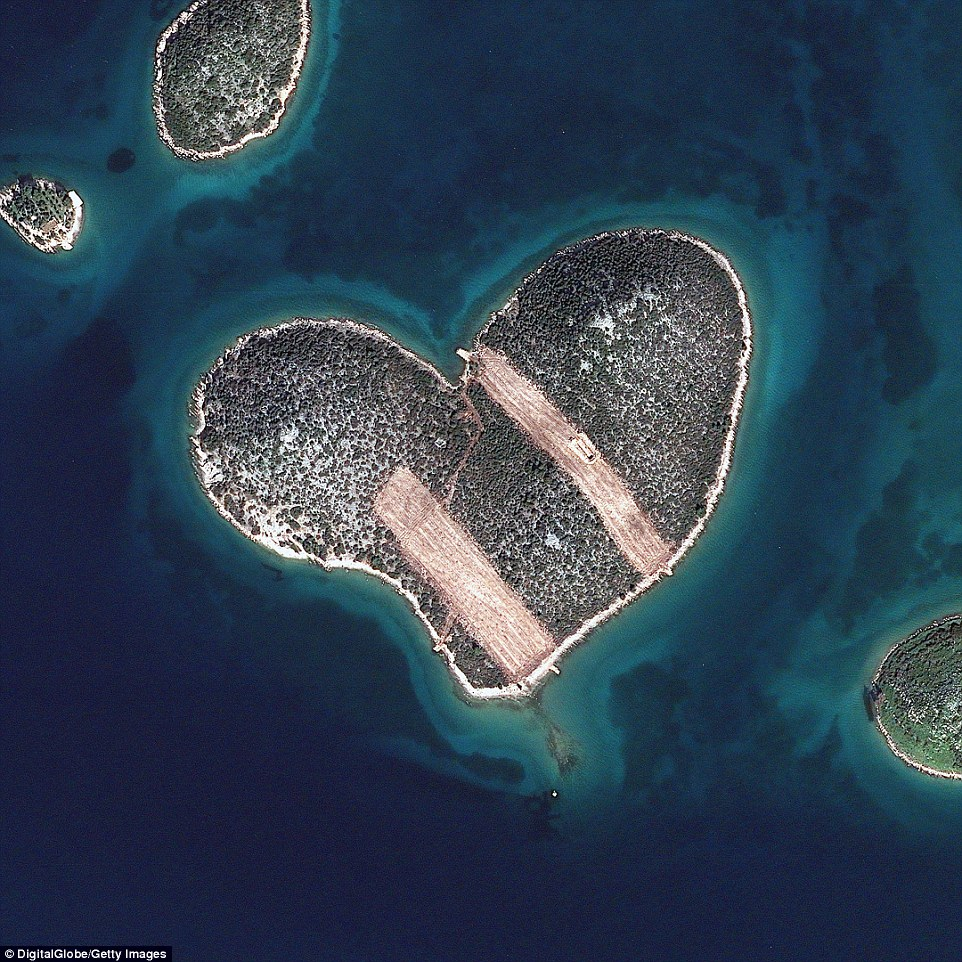 Heart Island in Galesnjak, Croatia, first gained worldwide recognition in 2009 when Google Earth captured its unique shape with this satellite image. Galesnjak is uninhabited and does not have any tourist facilities, but visitors can travel by boat for a day with their loved one