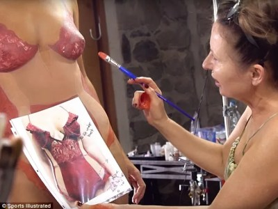 Concentration: A make-up artist can be seen looking at a photo of the actual swimsuit while she painted a replica on Caroline's nude body