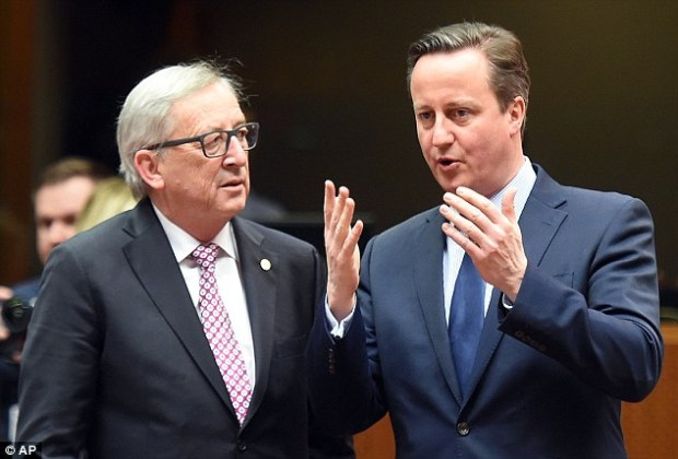 David Cameron appeared to be deep in talks with Mr Juncker at a round table meeting in Brussels yesterday