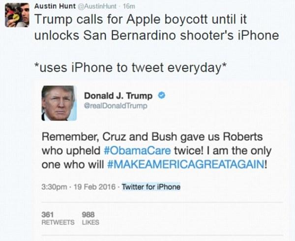 Donald Trump calls for Apple BOYCOTT over company's ...