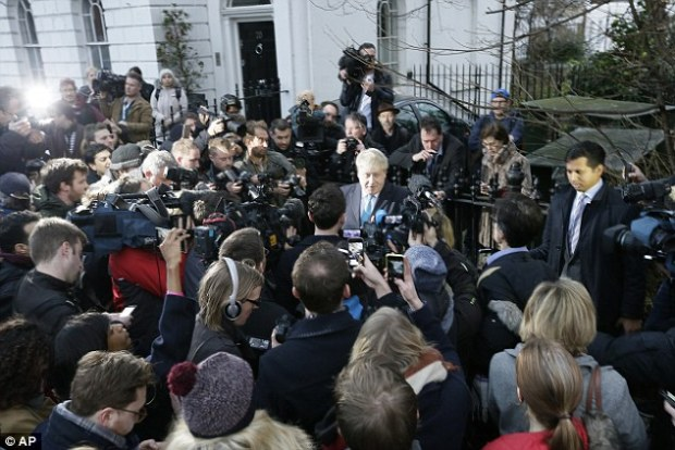Mayor of London: Boris Johnson made his long-awaited announcement amid chaotic scenes outside his house