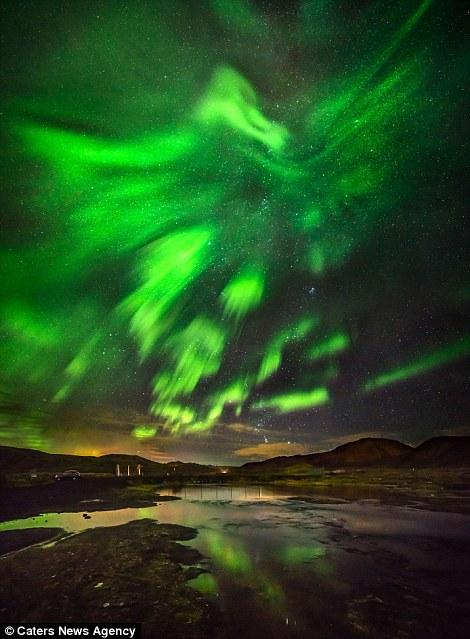 The animal shape formed among the famous lights was captured by photographer Hallgrimur P Helgason