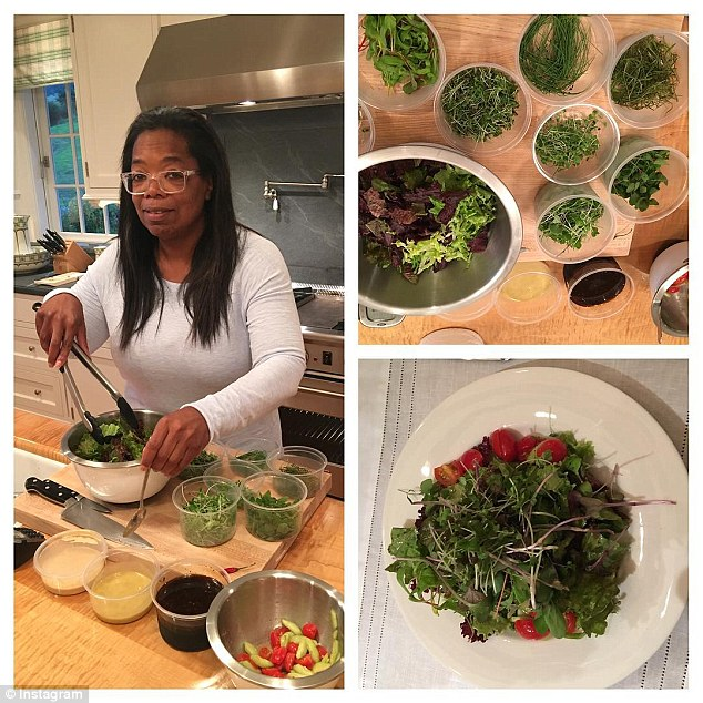 Growth: Subscribers were expected to increase after Winfrey bought a 10 percent stake in the company and became the face of the weight-loss program (Winfrey making healthy salads above)
