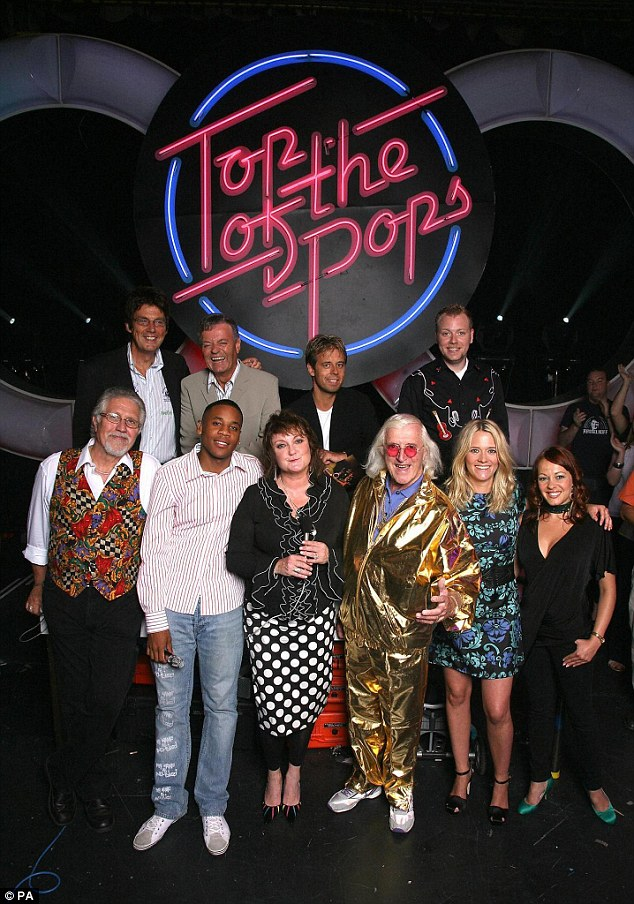 Blackburn, top row second left, and Savile, bottom row third right, pictured on Top of the Pops