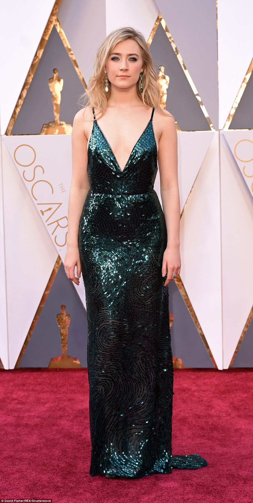 All that glitters: Another star from this side of the water was Irish actress Saoirse Ronan, who is up for Best Actress for her turn in Brooklyn