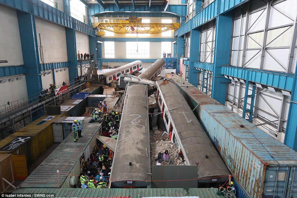Large scale drill: This photograph reveals the workings behind the mutli-agency exercise, which has taken more than a year to plan.The scenario, which involves a tower block collapsing on to the bustling Waterloo Tube station, has been built in a disused power station