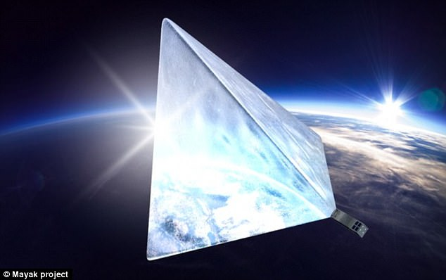 Engineers on the the 'Mayak' or 'Beacon' project are hoping to launch a satellite (illustrated) that will become the brightest object in our skies, apart from the sun, thanks to a giant reflective sheet of material