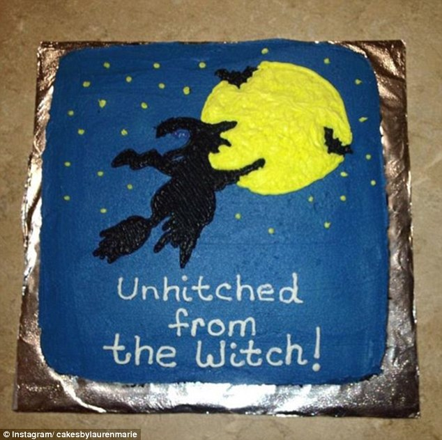 Not just women: 'Unhitched from the witch,' one cake read, which was iced with a picture of a witch flying into the starry night