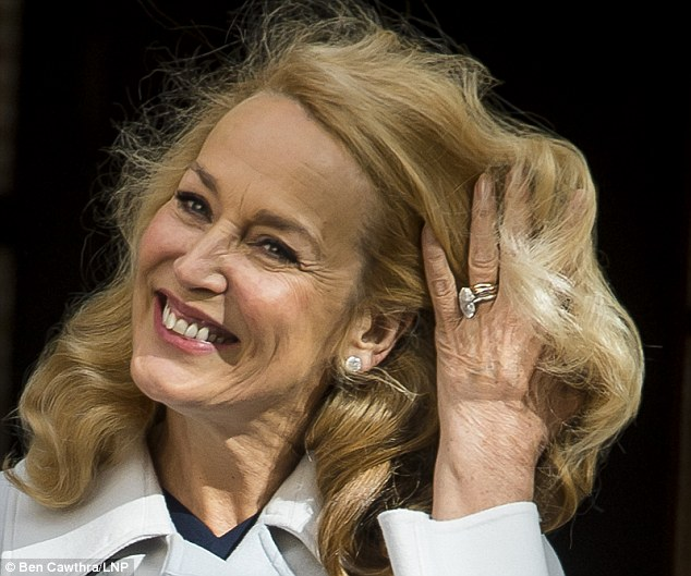 Jerry flashed her ring following a five-month courtship with the media mogul