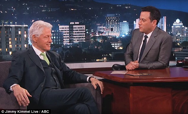 No aliens: Bill Clinton told Jimmy Kimmel (pictured) that when he became president he looked at documents related to Area 51 'to make sure there was no alien down there'