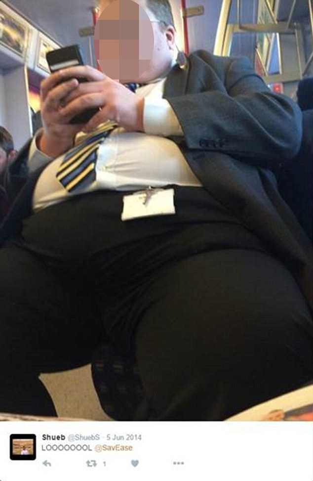 Mr Salar's Twitter feed includes a surreptitious picture of a portly man taken on the London Underground and accompanied by the caption 'LOOOOOL'