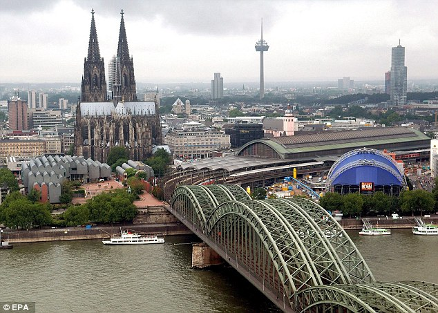 Police say the girl complained she was groped by a man while using a waterslide at a pool in Cologne (pictured)