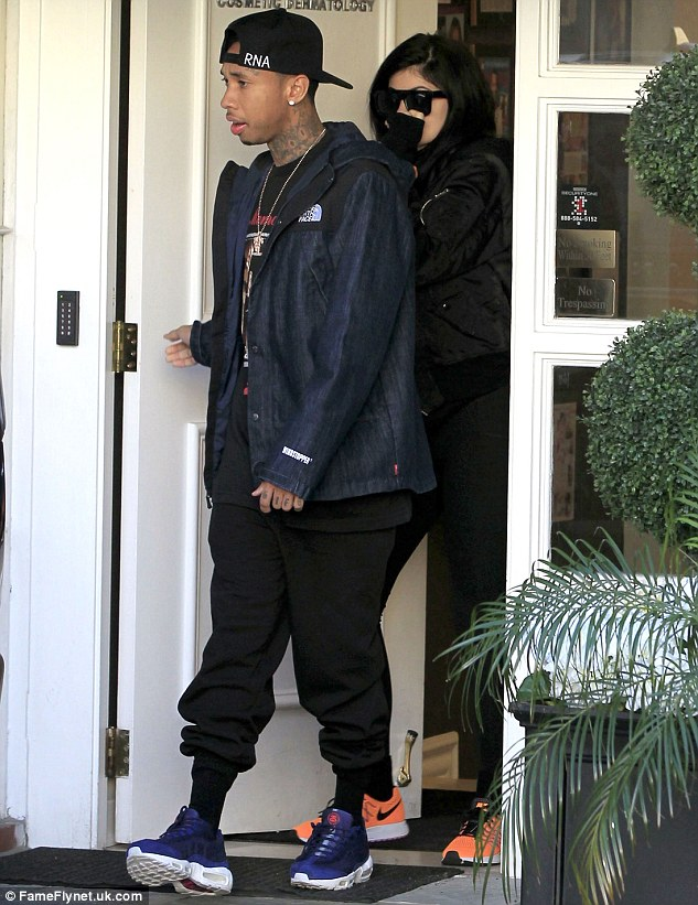 Speaking her mind: Kylie and boyfriend Tyga were seen leaving Epione Cosmetic Dermatology clinic in Beverly Hills on Monday