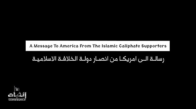 Footage begins with the title of the video: 'A message to America From The Islamic Caliphate Supporters.'