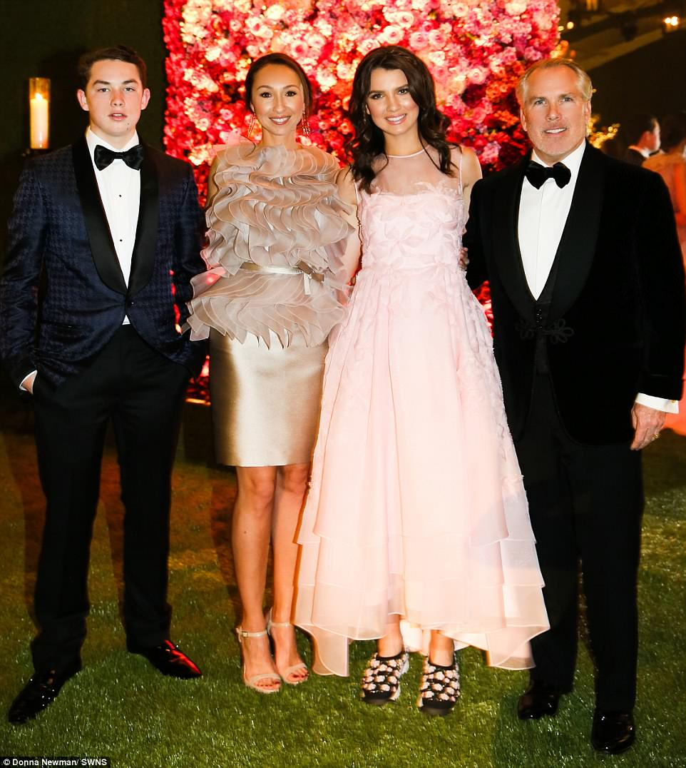 Connected: Maya, pictured with her brother, mom Azteca, and her dad, was thrown the party by lawyer Thomas who reportedly paid a whopping $6 million for the event