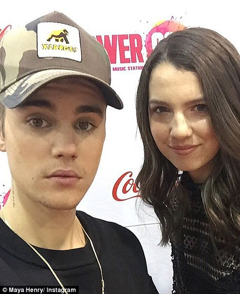 Insta-celebrity: Maya has met numerous stars, including Hillary Clinton and Justin Bieber (pictured)
